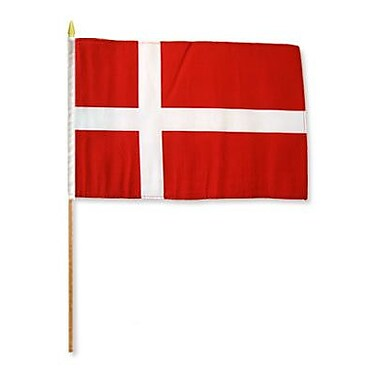 FlagsImporter Denmark Traditional Flag and Flagpole Set (Set of 12)
