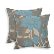 Essential Rosemary Silken Jacquard Floral Toss Pillow (Set of 2); Slate