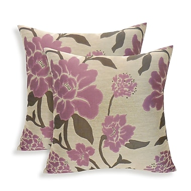 Essential Rosemary Silken Jacquard Floral Toss Pillow (Set of 2); Plum