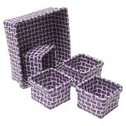 Evideco 5 Piece Checkered Storage Basket Set; Purple