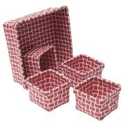 Evideco 5 Piece Checkered Storage Basket Set; Red