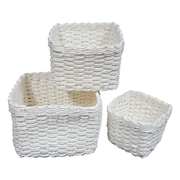 Evideco 3 Piece Storage Organizer Basket Set; White