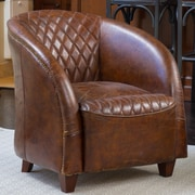 Darby Home Co Wilmette Tufted Leather Barrel Chair