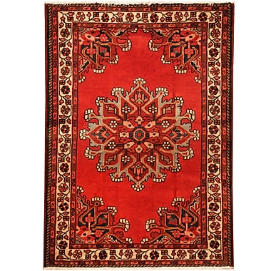 Herat Oriental Hamadan Hand-Knotted Red/Ivory Area Rug