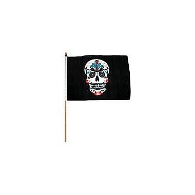 FlagsImporter Sugar Skull Traditional Flag and Flagpole Set (Set of 12)