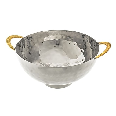 ClassicTouch Hammered Footed Salad Bowl