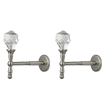 Urbanest Diamante Metal and Crystal Curtain Holdback (Set of 2); Brushed Steel