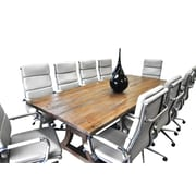 SolisPatio 11 Piece Ligna 8' Rectangular Conference Table Set; White
