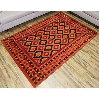 Beyan Shonil Orange/Red Area Rug; 7'10'' x 10'2''