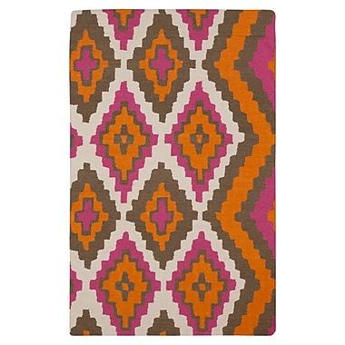 Beth Lacefield Alameda Hand woven Pumpkin/Raspberry Area Rug; 5' x 8'