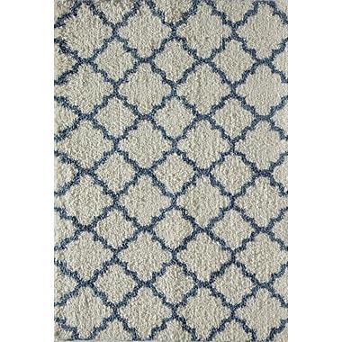 Rugs America Quatrefoil Ivory/Light Blue Area Rug; 5' x 8'