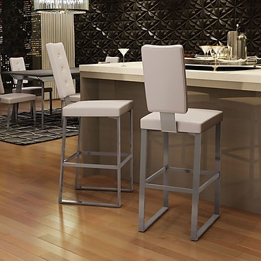 Amisco Soho 30'' Bar Stool; Glossy Grey Metal/Beige
