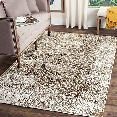 Gracie Oaks Jessup Hand-Loomed Ivory/Light Brown Area Rug; 8' x 10'