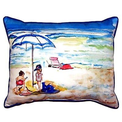 Betsy Drake Interiors Children at the Beach Outdoor Lumbar Pillow; Large