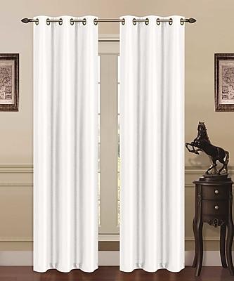 J&V Textiles Solid Blackout Grommet Thermal Curtain Panels (Set of 2); White