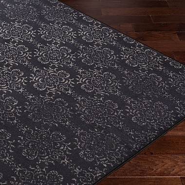 Gracie Oaks Huntingdon Black/Gray Area Rug; 1'10'' x 3'
