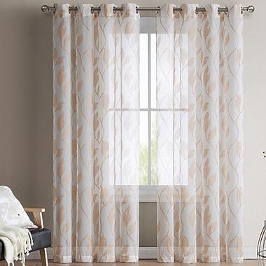 HLC.ME Chloe Jacquard Curtain Panels (Set of 2); Orange