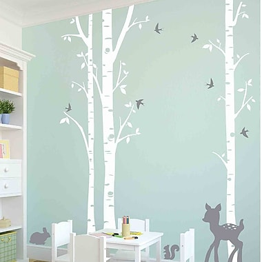 Owl Hills 3 Birch Trees w/ Fawn, Bunny, Squirrel and Birds Wall Decal