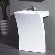 Kube Bath Sette 24'' Pedestal Bathroom Sink w/ Overflow