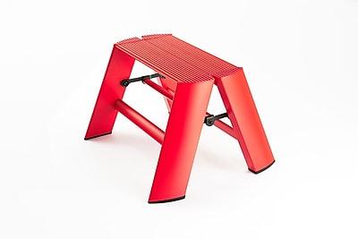 Lucano 1-Step Aluminum Step Stool; Red