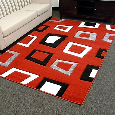 Sintechno Inc Hollywood Square Red/Black Area Rug