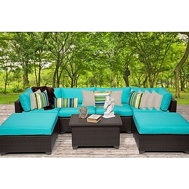 TK Classics Belle 7 Piece Sectional Seating Group w/ Cushion; White