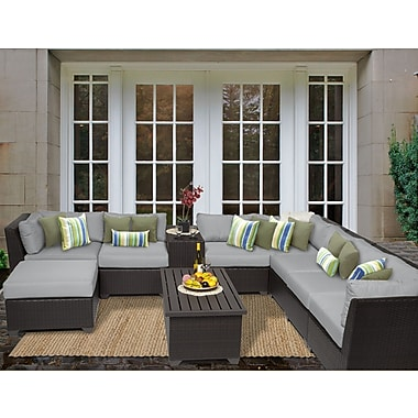TK Classics Barbados 10 Piece Sectional Seating Group w/ Cushion; Grey