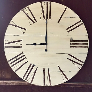 Darby Home Co Oversized Clarendon 34'' Vintage Style Painted Wood Wall Clock