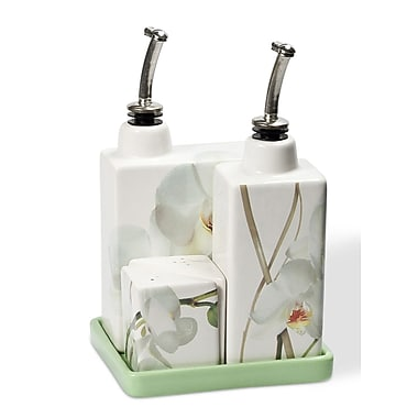 Intrada Vivere 5 Piece Orchid Oil, Vinegar, Salt and Pepper Set on Tray