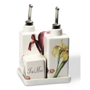 Intrada Vivere 5 Piece Iris Oil, Vinegar, Salt and Pepper Set on Tray