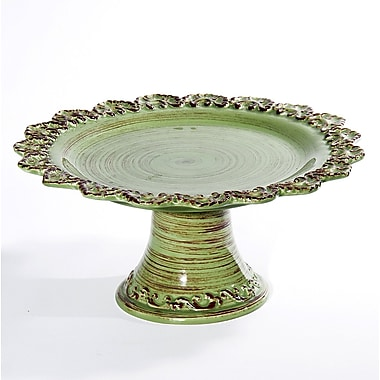 Intrada Baroque Footed Cake Stand; Green