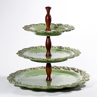 Intrada Baroque 3-Tier Cake Stand; Green
