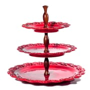 Intrada Baroque 3-Tier Cake Stand; Red