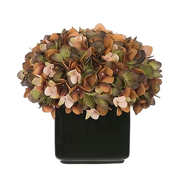 House of Silk Flowers Artificial Hydrangea in Small Black Cube Ceramic; Coffee/Sage