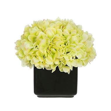 House of Silk Flowers Artificial Hydrangea in Small Black Cube Ceramic; Green