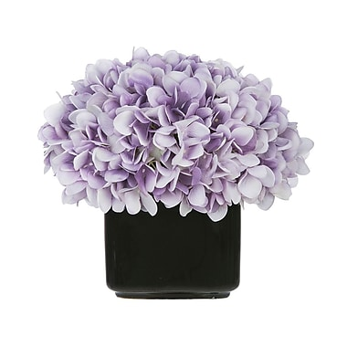 House of Silk Flowers Artificial Hydrangea in Small Black Cube Ceramic; Lavender