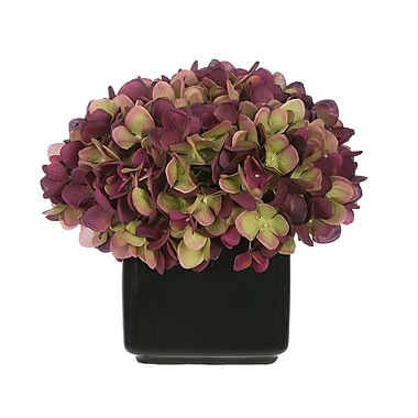 House of Silk Flowers Artificial Hydrangea in Small Black Cube Ceramic; Plum/Sage