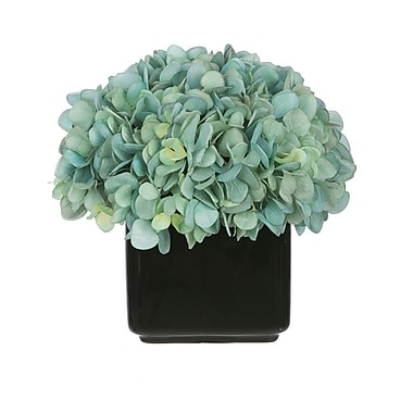 House of Silk Flowers Artificial Hydrangea in Small Black Cube Ceramic; Teal