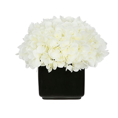 House of Silk Flowers Artificial Hydrangea in Small Black Cube Ceramic; White