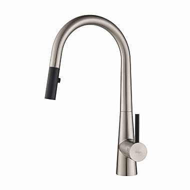 Kraus Crespo Single Handle Pull Down Kitchen Faucet; Stainless Steel