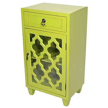 Mistana Fairhills 1 Drawer and 1 Door Acccent Cabinet w/ Glass Insert; Lime