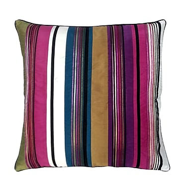 Edie Inc. Stripe w/ Cord Throw Pillow; Bright