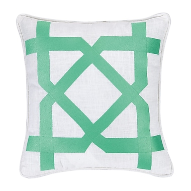 Jennifer Paganelli Sis Boom Embroidered Throw Pillow; Green