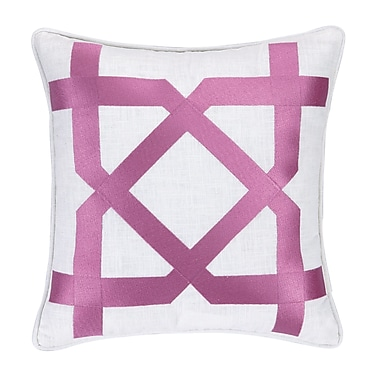 Jennifer Paganelli Sis Boom Embroidered Throw Pillow; Pink