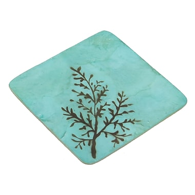 Dekorasyon 5 Piece Coaster Set; Brown/Aqua