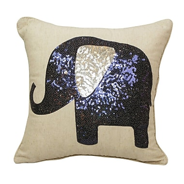 Westex Emma and Violet Sequin Elephant Throw Pillow; Charcoal
