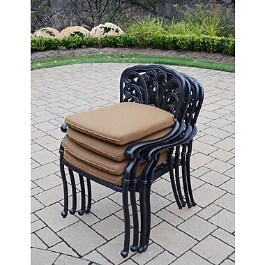 Darby Home Co Bosch Stackable Dining Arm Chairs w/ Cushions (Set of 4); Sunbrella