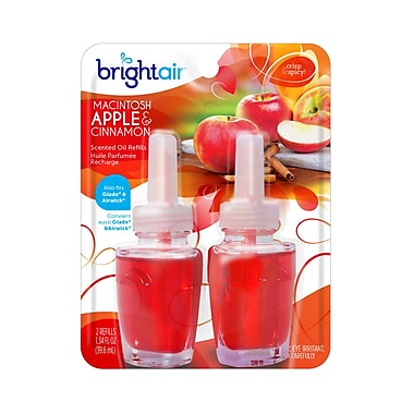 Bright Air – Recharge pour purificateur d'air parfumé électrique, pomme et cannelle, 6/paquet