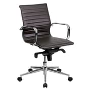 Offex Mid-Back Leather Desk Chair; Brown