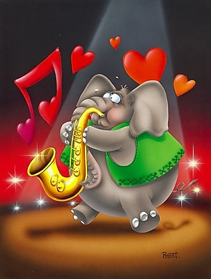 Caroline's Treasures Elephant Playing the Saxaphone 2-Sided Garden Flag